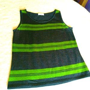 TAHARI Arthur S. Levine Striped Knit Tank Petite